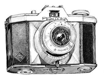 Pentona Vintage Camera Illustration A3 Print