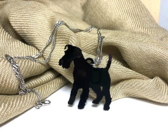 Black Acrylic Schnauzer Dog necklace, for small gifts