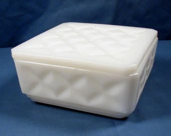 Vintage White Milk Glass Trinket Box