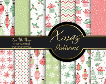 Christmas scrapbook papers, digital scrapbooking, christmas digital paper commercial use, christmas backgrounds, holiday digital papers