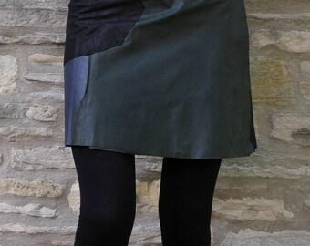 Handmade Leather Skirt, Hippie, Skirt, Black, Psy, Steampunk