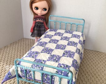 Custom Ooak Quilt for Blythe or similar doll 1:6 scale Blanket Heather blue and white