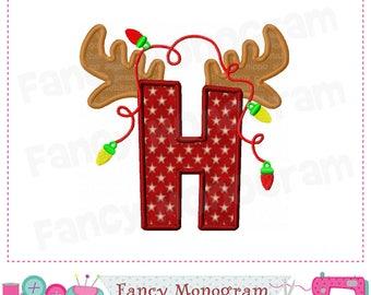 Reindeer Monogram H applique,Christmas Letter H applique,H,Birthday Letter H applique,Christmas letter design,letter H.