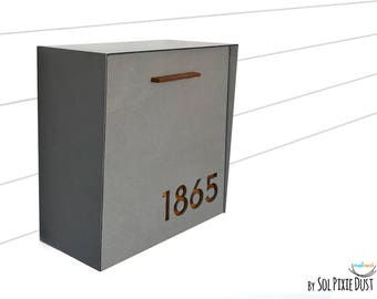 modern mailbox with concrete face aluminum body and dark oak wood vanish custom modern - Wall Mount Mailboxes
