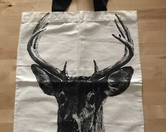 Deer Fashion Cotton Canvas Punk Rock Tote Bag