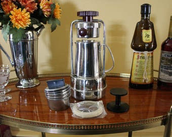 Expresso Maker, Alfa Universale Expresso Coffee Pot, Original Box, 10 Cup Espresso Maker with Strainers, Gaskets, Inox Expresso Pot, Italy