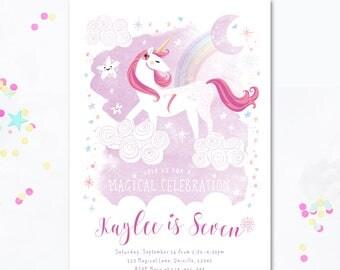 Unicorn Invite, unicorn party, girls birthday invite, children's birthday invitation, unicorn birthday party, unicorn invitation, unicorn