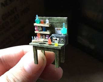 Science & Potions Table- Quarter Scale Halloween Dollhouse Miniature- 1:48 1/4