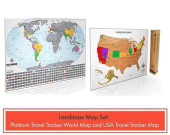 2 Scratch Off Travel Tracker Maps - 1 XL Platinum World Map and 1 USA Travel Tracker Map - Perfect Gifts for Travel Lovers