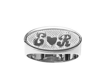 SNS174 9mm Silver Oval Name Ring