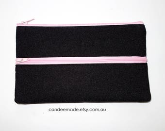Black Pencil case/ Makeup Bag With Two Pink Zippers