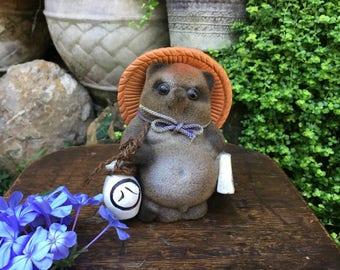 Japanese Flocked Tanuki Good Luck Raccoon Dog Marble Eyes