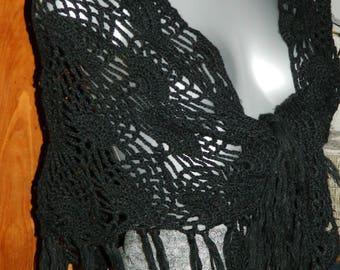 Black shawl, shoulder warmer, shawl crocheted (1990s)