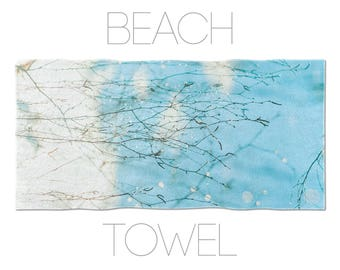 Nature beach towel, Blue and white, Gym towel, Home gifts, Blue beach towel, Bath linen, Cotton terry, Bath accessories, Gift for her. UL040