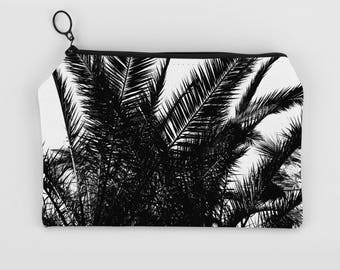 Palm Leaf Pouch, Accessory Pouches, Black And White Pouch Bag, Tropical Pouch, Tropical Bag, Back To School Gift, Large Pouches