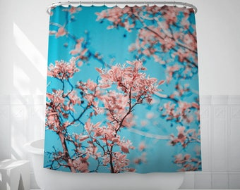 Floral Shower Curtain, Blue And Pink Floral Bath Decor, Hookless Shower Curtain, Bathroom Curtains, Home Shower Curtains, Bathroom Sets