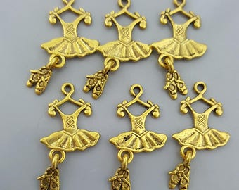 Ballerina Dress with Pumps Charms, Bright Gold, 25x13mm - 10 Pieces