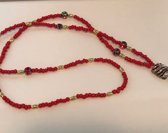 Red and gold lanyard