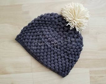 Crochet puff stitch pom pom hat