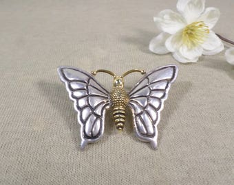 BEST! Vintage Gold and Silver Tone Butterfly Brooch That Doubles As A Pendant Signed Best  DL# 2881