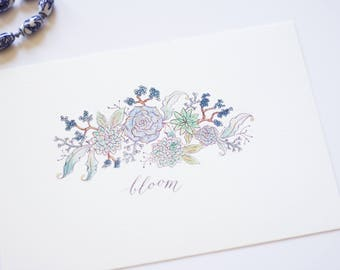 Succulent Bloom Art – Calligraphy and Watercolor