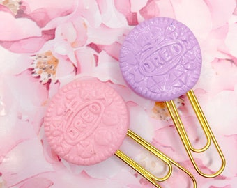 Sweet Kawaii Pastel Oreos -  Handmade Polymer Clay Charm / Planner Accessories / Planner Clips