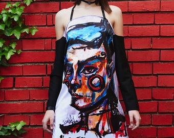 Long Artistic Dress With Original Print Jester Clown