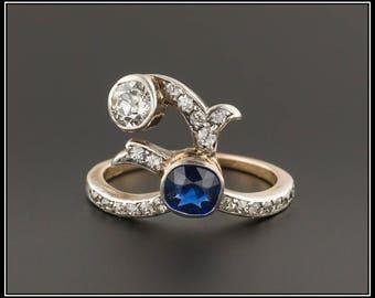 Art Deco Sapphire & Diamond Ring | 14k Gold Sapphire Ring | Vintage Sapphire Ring | 14k Gold Ring | Vintage Ring