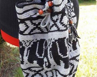 crochet elephant pattern backpack bag