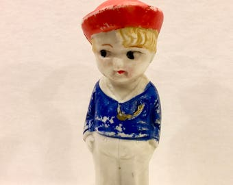 Vintage Bisque Doll, Boy Sailor Doll, Frozen Charlotte, Porcelain Doll, Googly Eyes, Red Sailor Hat, 4 inches,  Made in Japan, Circa 1930s