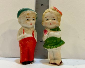 Vintage Bisque Dolls, Japan, Frozen Charlotte, Penny Doll, Two Dolls, Miniature Doll, Collectible Dolls, Red and Green, 2 1/2 inch, 1930s