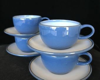 Heath ceramics teacups saucers vintage coupe line blue white glaze Edith Heath California collectible pottery teacups tea coffee cups gift
