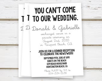printed elopement reception invitation simple you cant come funny eloped - Wedding Reception Only Invitations