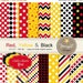 50% OFF Red, Yellow and Black Digital Papers,  Birthday Party, Chevron, Circles, Stripes, Stars, Harlequin for Invitation, Cake Toppers and