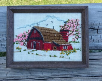 Crewel Embroidery Barn Picture