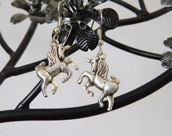 Unicorn Silver Charm Dangle Dangly Drop Earrings Folklore