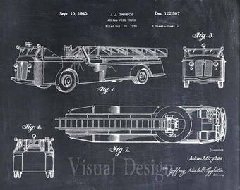 Aerial Firetruck Patent Print, Patent Art Print, Patent Poster, Firetruck, Fireman Gift, Firefighter Gift