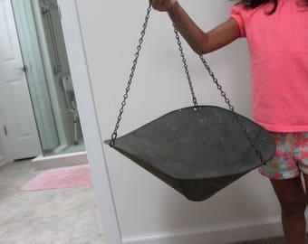 Vintage Hanging Galvanized Metal Scale Scoop