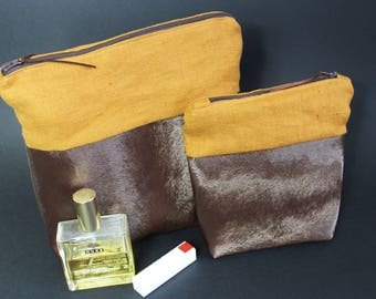 Set of mustard and Brown toiletry/makeup pouches
