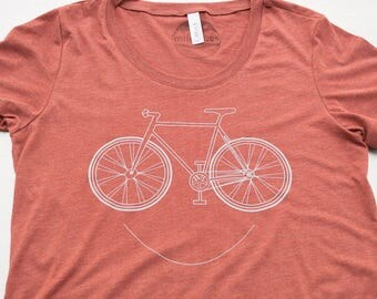 Women's Bike t-shirt, printed on buttery soft shirt's. smiling bicycle shirt, cycling clothing, bicycle gift, too cute, free shipping in USA