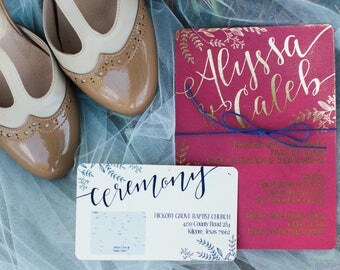Elegant Gold Foil Sample Wedding Invitation