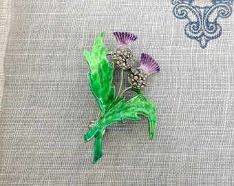 Vintage Thistle Brooch Enamel and Marcasite Purple Green Scottish Scotland