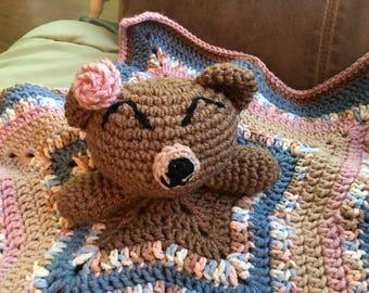 Crochet Teddy Bear Baby Lovey. Crochet Baby Security Blanket. Teddy Bear. Baby Blanket. Baby Lovey. Amigurumi. Baby Girl. Baby Shower Gift.