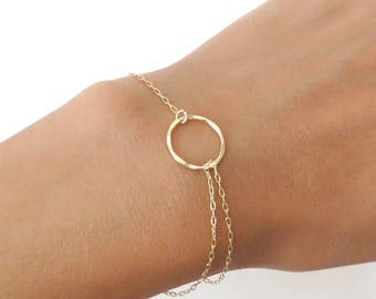 Gold Bracelet, Circle bracelet, small circle bracelet, Karma bracelet, thin gold bracelet,dainty gold bracelet, minimal bracelet