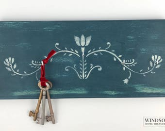 Blue Key Rack, Key Holder, Jewellery Hanger, Painted Key Rack, Key Hooks, Painted Key Holder, Key Hanger, Mother's Day