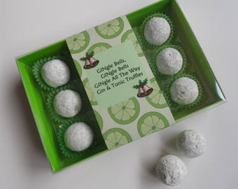 GINgle All The Way - Novelty Gift 2-12 Pces Gin & Tonic Chocolate Truffles - Personalised Gift