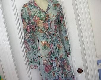 Vintage '70's/'80's Dress Size S Andrea Gayle For B. Altman Sheer Floral Shirtwaist