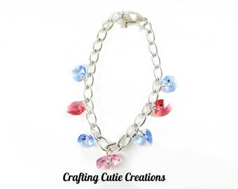 Heart Charm Bracelet, Swarovski Hearts, Gifts for Her, Valentines day gifts for her, Women's Bracelet