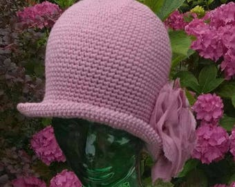 Crochet PATTERN - Crochet Hat Pattern - Crochet Cloche Pattern - 1920's Style Hat Pattern - Rose Embellished Hat Pattern