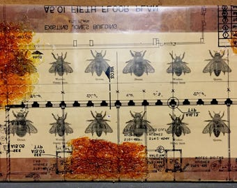 Blueprint custom art architectural decor mixed media collage honeycombs bee art mixed media collage blueprint custom art blood honey upcycled materials recycled malvernweather